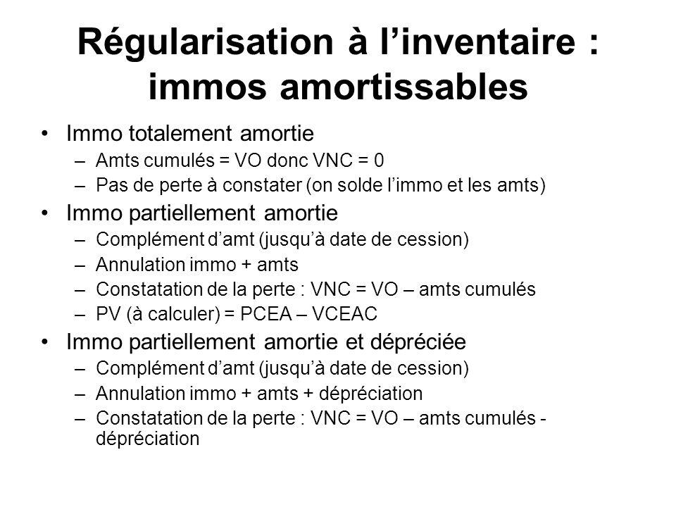 Régularisation à linventaire : immos amortissables Immo totalement amortie –Amts cumulés = VO donc VNC = 0 –Pas de perte à constater (on solde limmo et les amts) Immo partiellement amortie –Complément damt (jusquà date de cession) –Annulation immo + amts –Constatation de la perte : VNC = VO – amts cumulés –PV (à calculer) = PCEA – VCEAC Immo partiellement amortie et dépréciée –Complément damt (jusquà date de cession) –Annulation immo + amts + dépréciation –Constatation de la perte : VNC = VO – amts cumulés - dépréciation