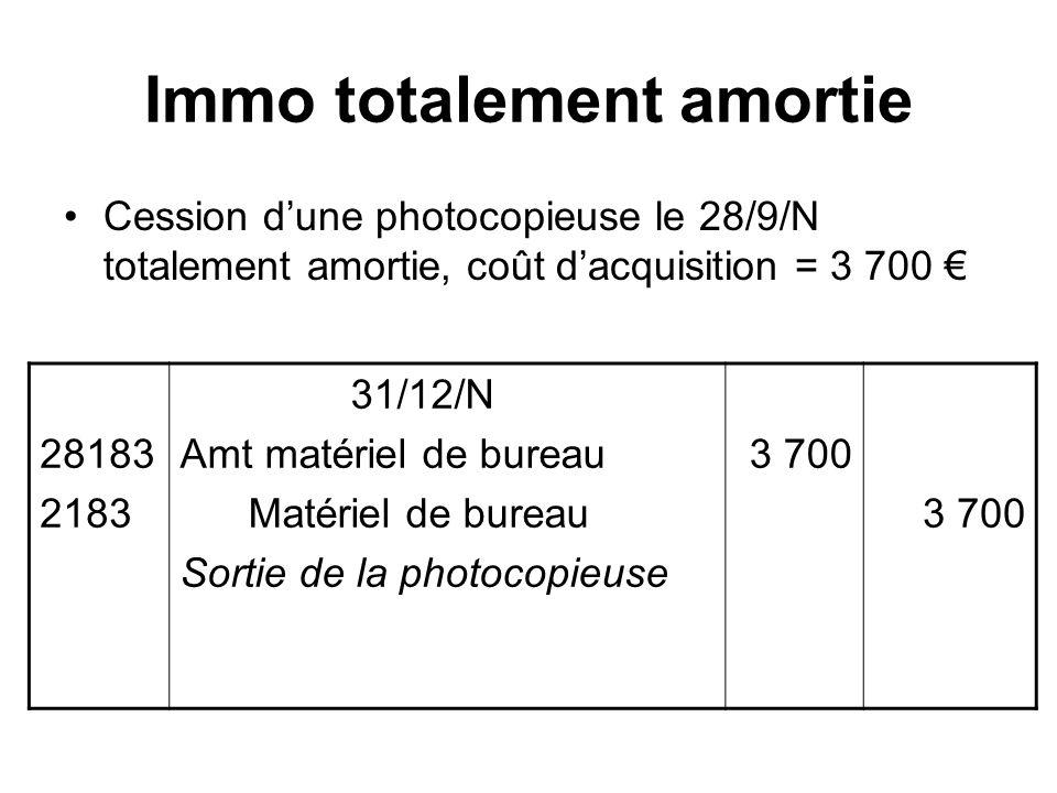 Immo totalement amortie Cession dune photocopieuse le 28/9/N totalement amortie, coût dacquisition = 3 700 28183 2183 31/12/N Amt matériel de bureau Matériel de bureau Sortie de la photocopieuse 3 700