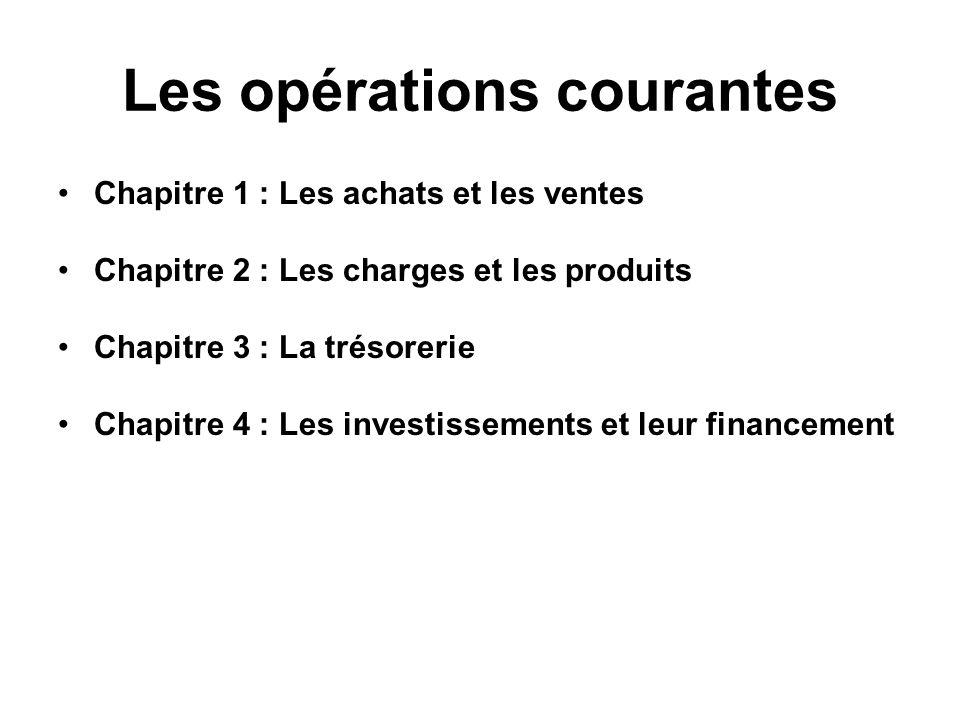 Les opérations courantes Chapitre 1 : Les achats et les ventes Chapitre 2 : Les charges et les produits Chapitre 3 : La trésorerie Chapitre 4 : Les investissements et leur financement