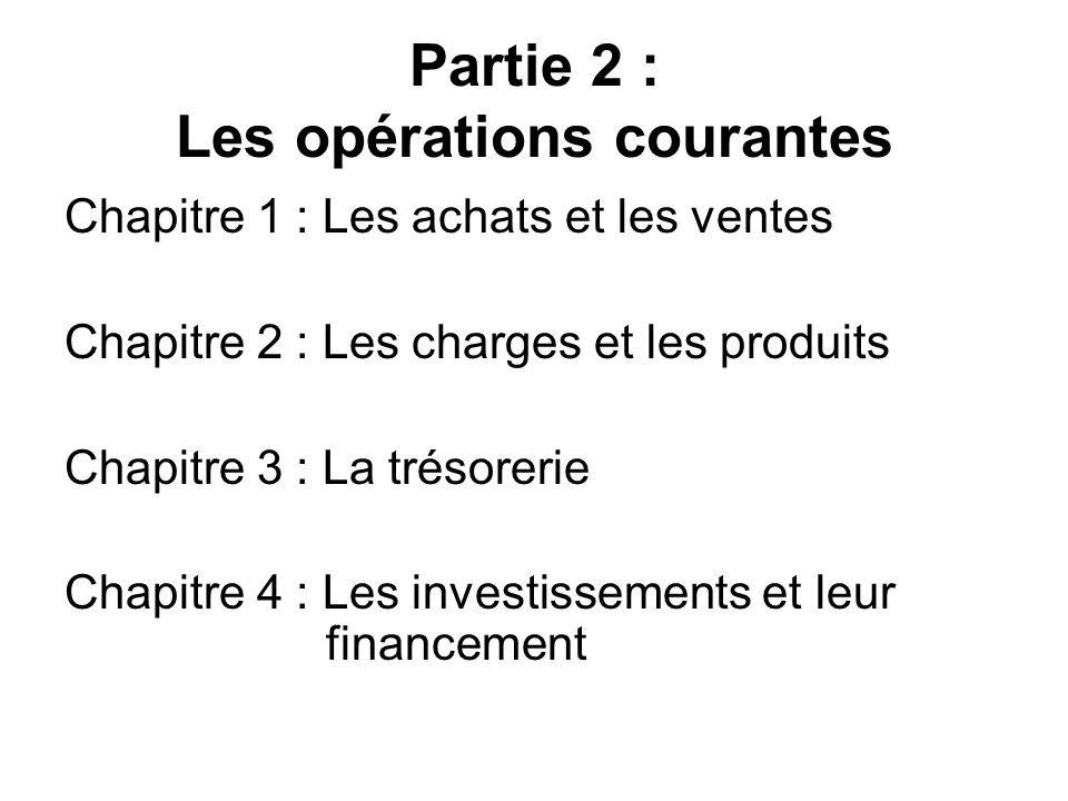 Partie 2 : Les opérations courantes Chapitre 1 : Les achats et les ventes Chapitre 2 : Les charges et les produits Chapitre 3 : La trésorerie Chapitre 4 : Les investissements et leur financement