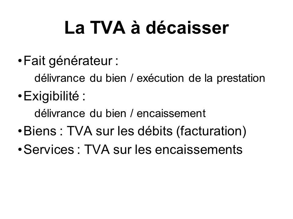La TVA à décaisser Fait générateur : délivrance du bien / exécution de la prestation Exigibilité : délivrance du bien / encaissement Biens : TVA sur les débits (facturation) Services : TVA sur les encaissements