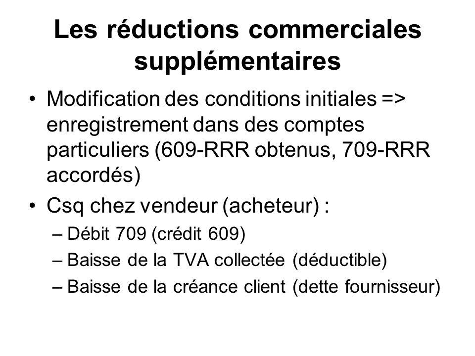 Les réductions commerciales supplémentaires Modification des conditions initiales => enregistrement dans des comptes particuliers (609-RRR obtenus, 709-RRR accordés) Csq chez vendeur (acheteur) : –Débit 709 (crédit 609) –Baisse de la TVA collectée (déductible) –Baisse de la créance client (dette fournisseur)