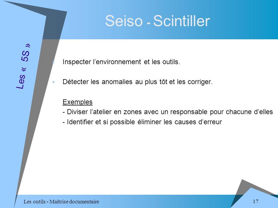 Les outils - Maîtrise documentaire 17 Seiso - Scintiller Inspecter lenvironnement et les outils.