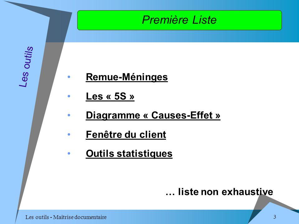 Les outils - Maîtrise documentaire 3 Première Liste Remue-Méninges Les « 5S » Diagramme « Causes-Effet » Fenêtre du client Outils statistiques … liste non exhaustive Les outils