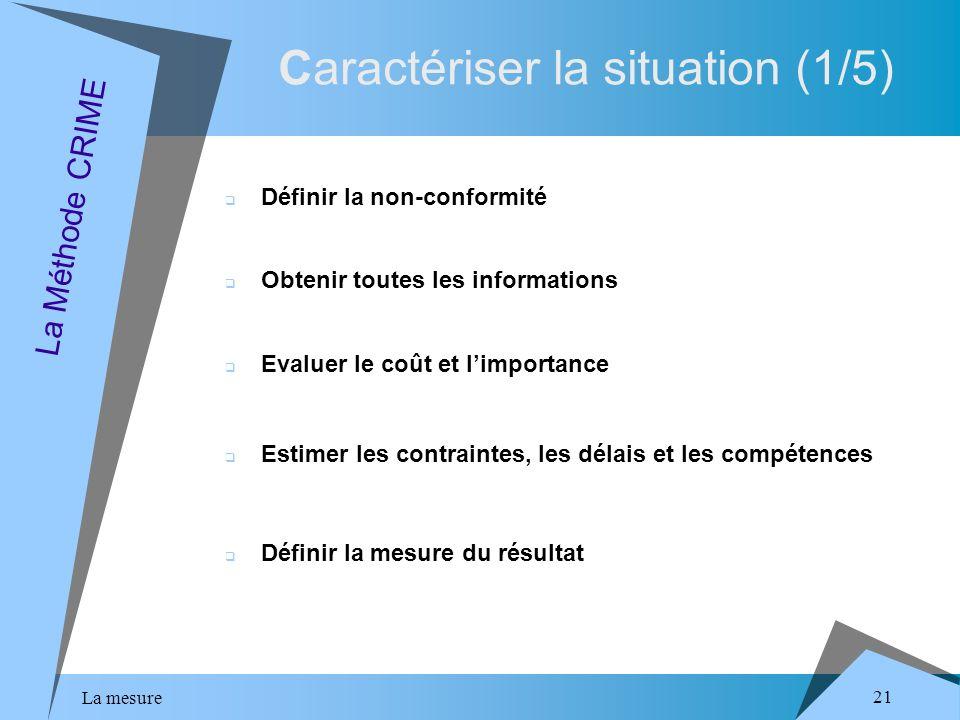La mesure 21 Caractériser la situation (1/5) La Méthode CRIME Définir la non-conformité Obtenir toutes les informations Evaluer le coût et limportance Estimer les contraintes, les délais et les compétences Définir la mesure du résultat