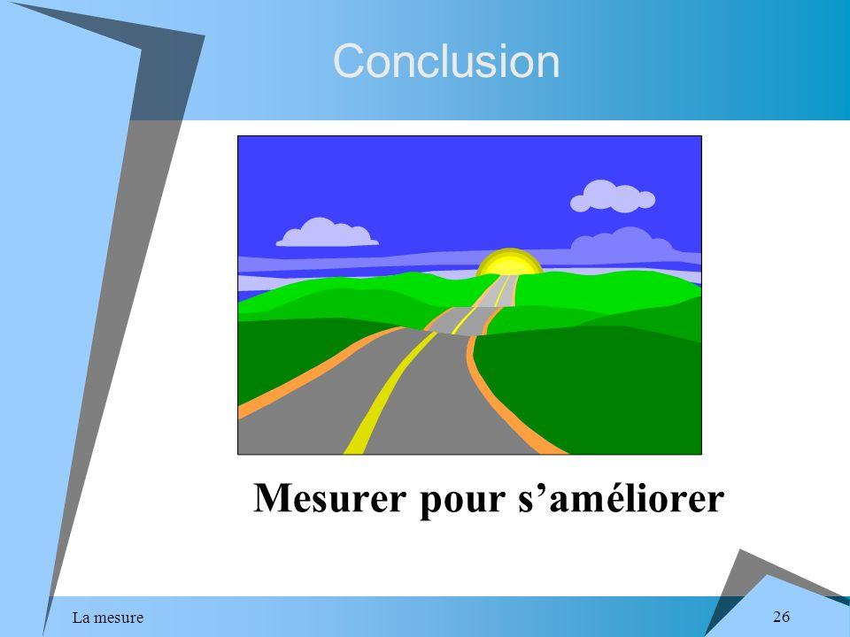La mesure 26 Conclusion Mesurer pour saméliorer