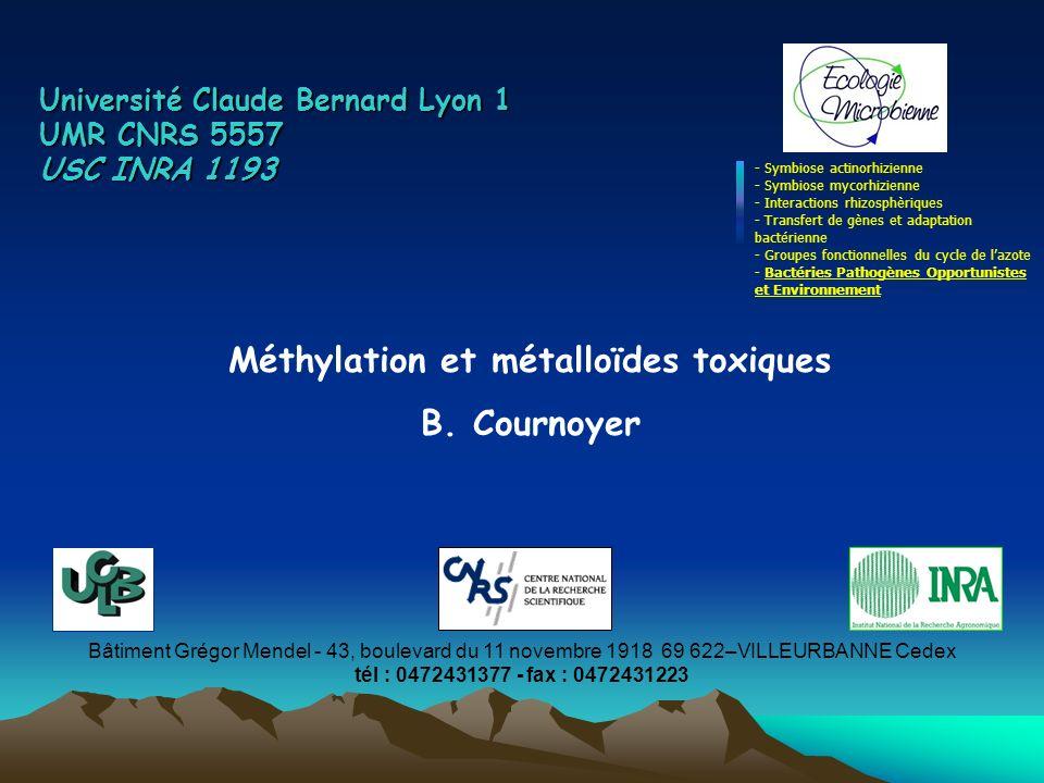 Les voies de méthylation des métalloïdes toxiques plusieurs bactéries pathogènes = résistantes au tellurite et/ou sélénite: - P.