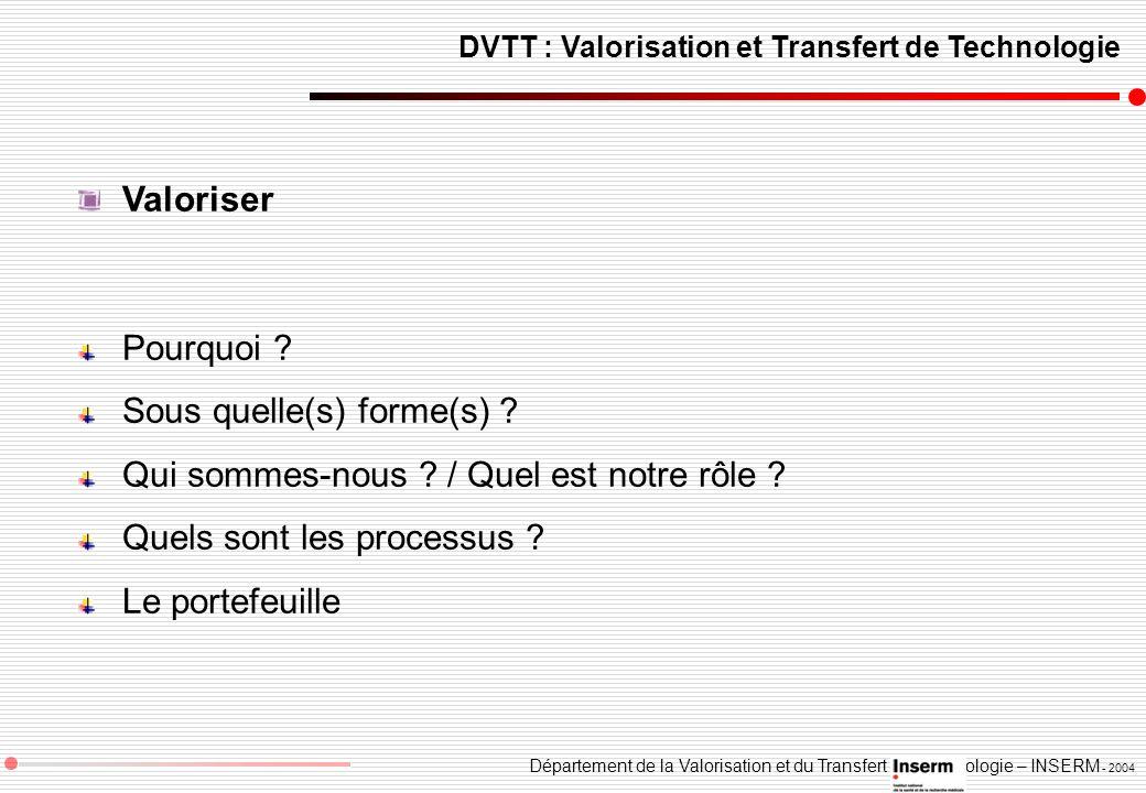 Département de la Valorisation et du Transfert de Technologie – INSERM - 2004 DVTT : Valorisation et Transfert de Technologie Valoriser Pourquoi ? Sou