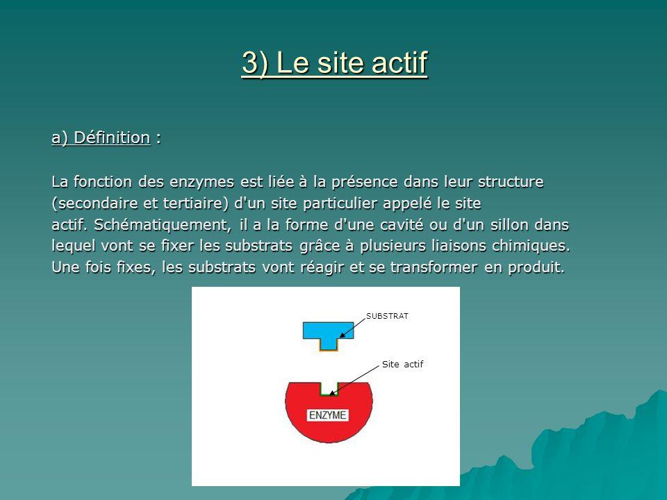 3) Le site actif a) Définition : La fonction des enzymes est liée à la présence dans leur structure (secondaire et tertiaire) d un site particulier appelé le site actif.