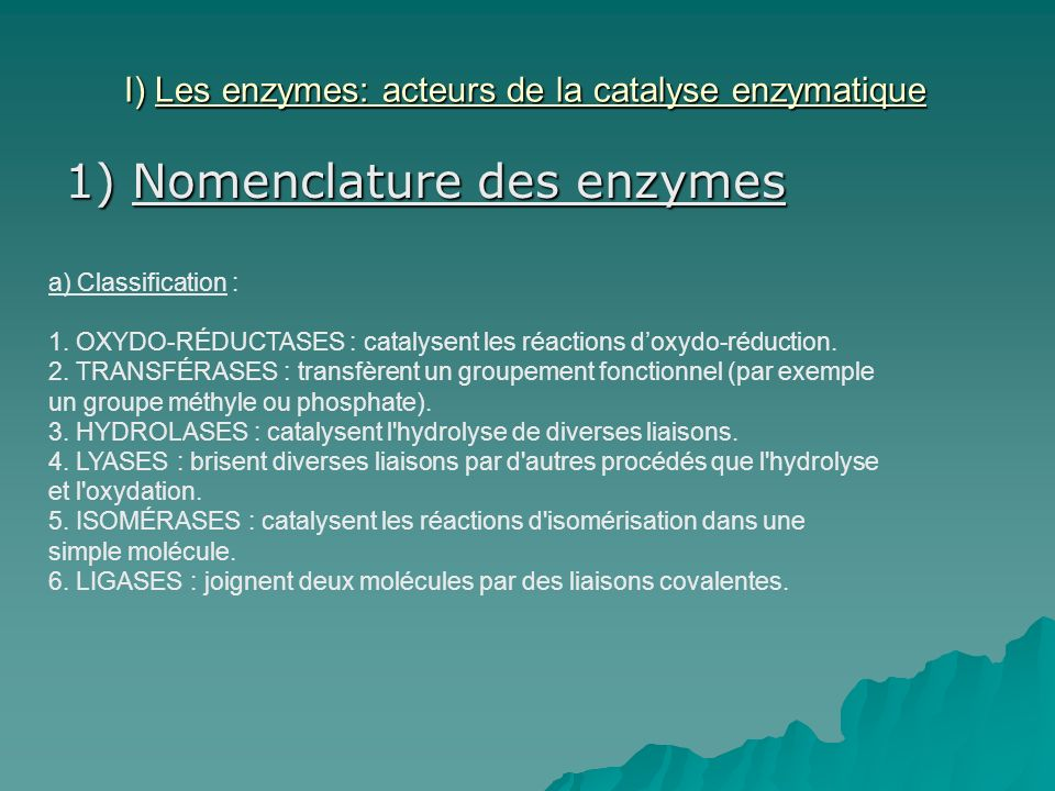 b) Nomenclature : La nomenclature EC (EC est le sigle de Enzyme Commission numbers, la Commission des enzymes) est une classification numérique des enzymes, basée sur la réaction chimique qu elles catalysent.