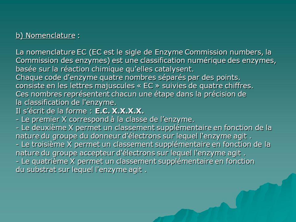 b) Nomenclature : La nomenclature EC (EC est le sigle de Enzyme Commission numbers, la Commission des enzymes) est une classification numérique des enzymes, basée sur la réaction chimique qu elles catalysent.