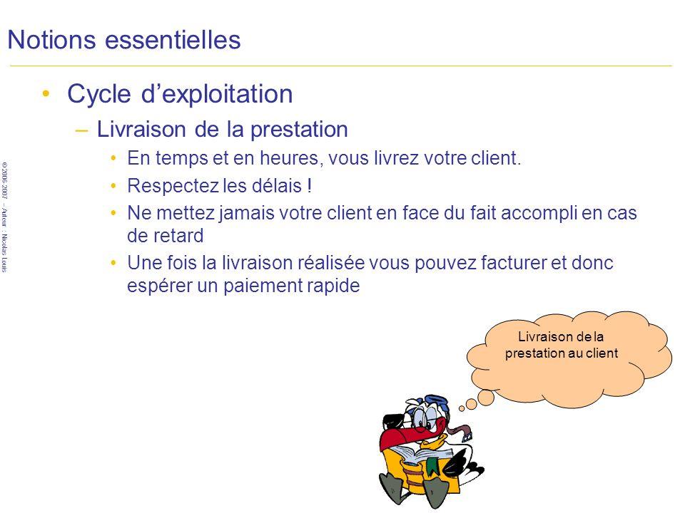 © 2006-2007 – Auteur : Nicolas Louis Notions essentielles Cycle dexploitation –Livraison de la prestation En temps et en heures, vous livrez votre client.