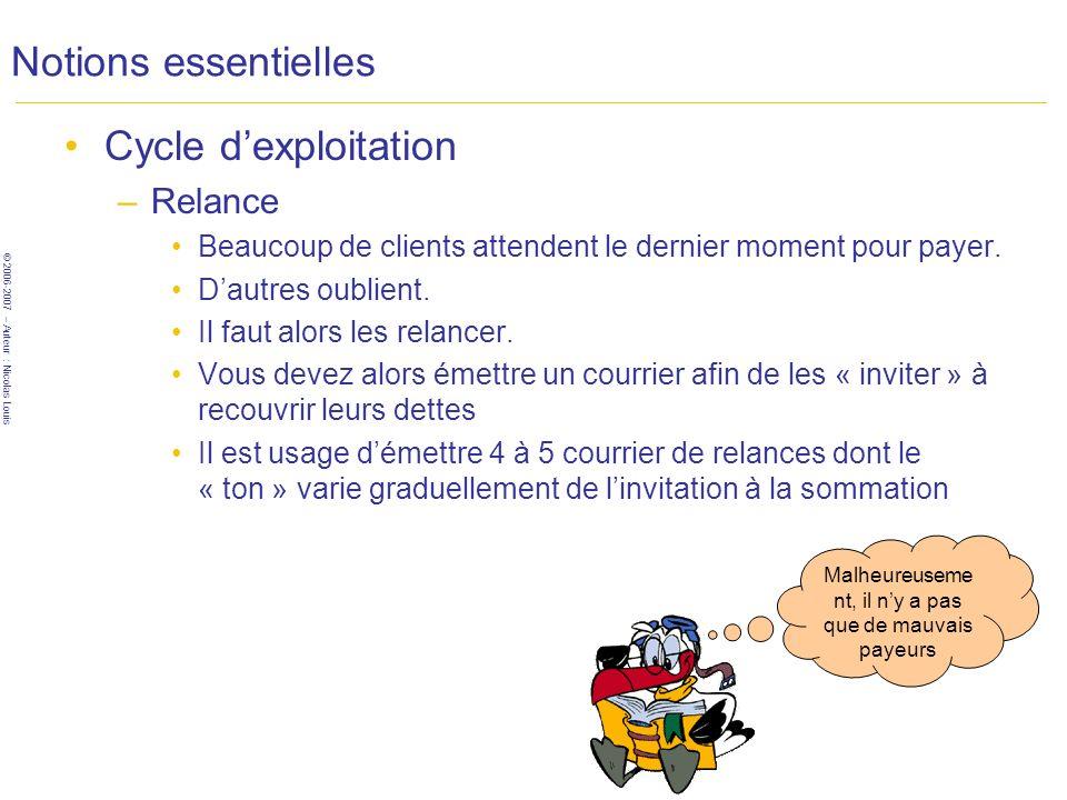 © 2006-2007 – Auteur : Nicolas Louis Notions essentielles Cycle dexploitation –Relance Beaucoup de clients attendent le dernier moment pour payer.