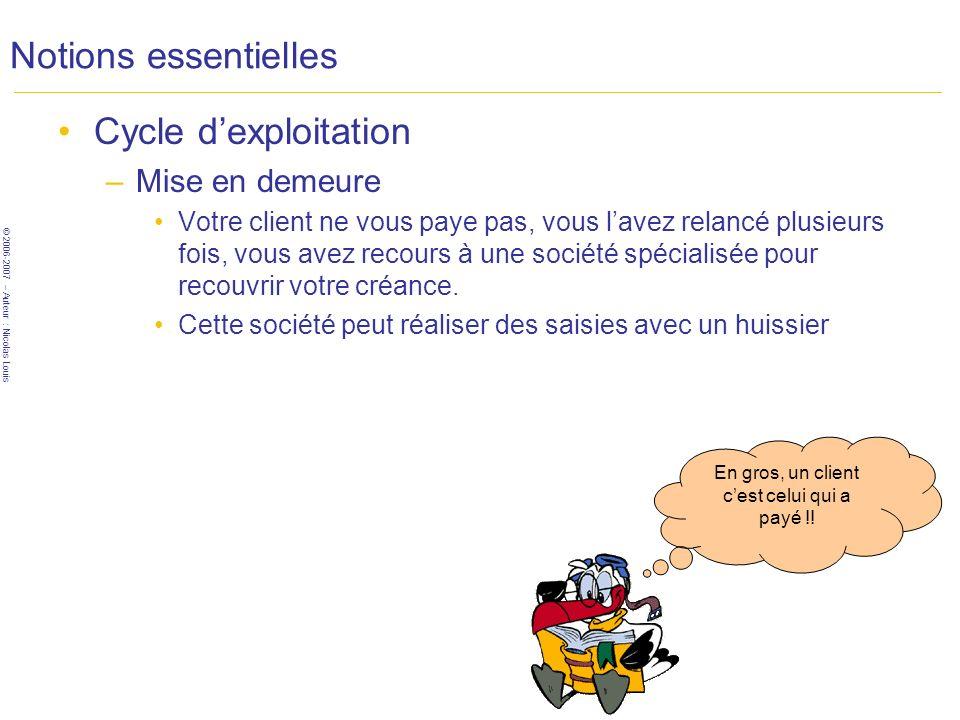 © 2006-2007 – Auteur : Nicolas Louis Notions essentielles Cycle dexploitation –Mise en demeure Votre client ne vous paye pas, vous lavez relancé plusieurs fois, vous avez recours à une société spécialisée pour recouvrir votre créance.
