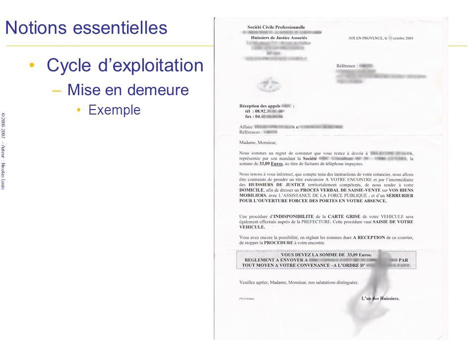 © 2006-2007 – Auteur : Nicolas Louis Notions essentielles Cycle dexploitation –Mise en demeure Exemple