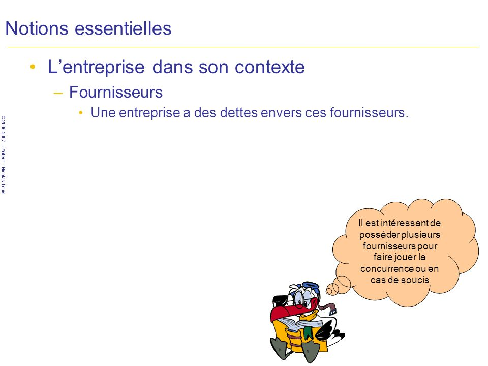 © 2006-2007 – Auteur : Nicolas Louis Notions essentielles Lentreprise dans son contexte –Fournisseurs Une entreprise a des dettes envers ces fournisseurs.