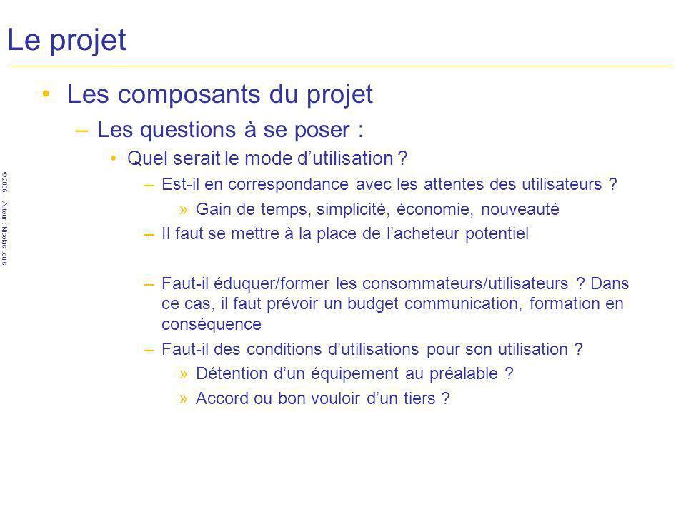 © 2006 – Auteur : Nicolas Louis Le projet Les composants du projet –Les questions à se poser : Quel serait le mode dutilisation .