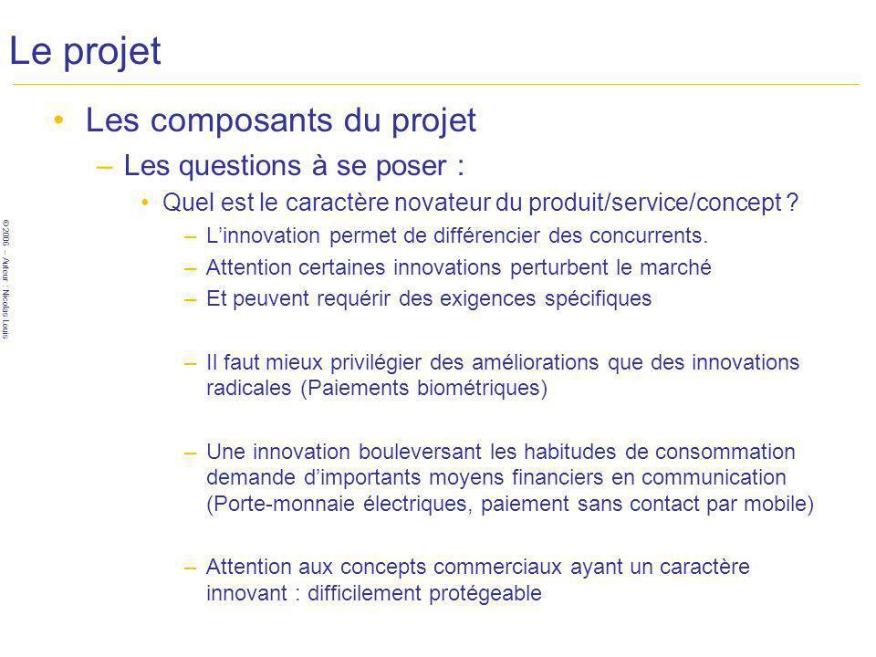 © 2006 – Auteur : Nicolas Louis Le projet Les composants du projet –Les questions à se poser : Quel est le caractère novateur du produit/service/concept .