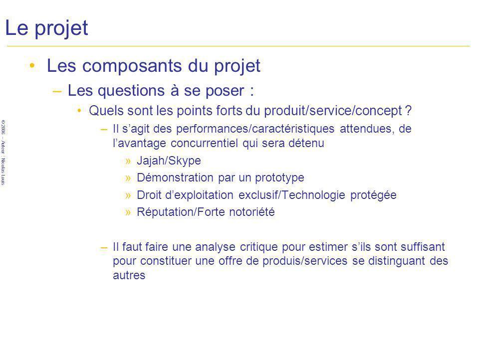 © 2006 – Auteur : Nicolas Louis Le projet Les composants du projet –Les questions à se poser : Quels sont les points forts du produit/service/concept .