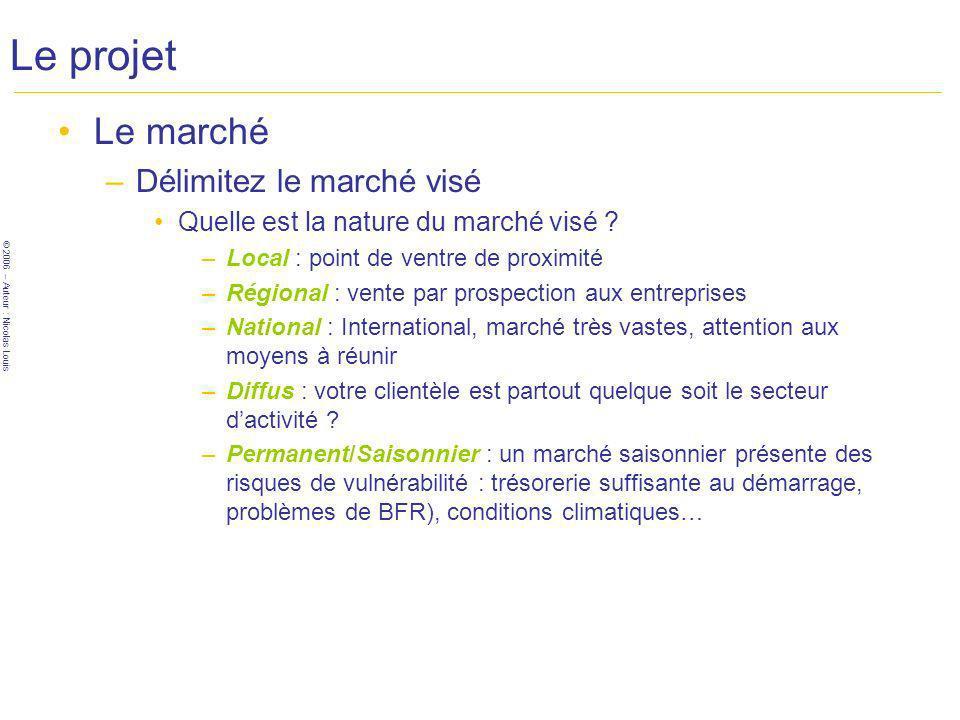© 2006 – Auteur : Nicolas Louis Le projet Le marché –Délimitez le marché visé Quelle est la nature du marché visé .