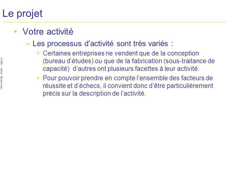 © 2006 – Auteur : Nicolas Louis Le projet Votre activité –Les processus dactivité sont très variés : Certaines entreprises ne vendent que de la conception (bureau détudes) ou que de la fabrication (sous-traitance de capacité) dautres ont plusieurs facettes à leur activité.