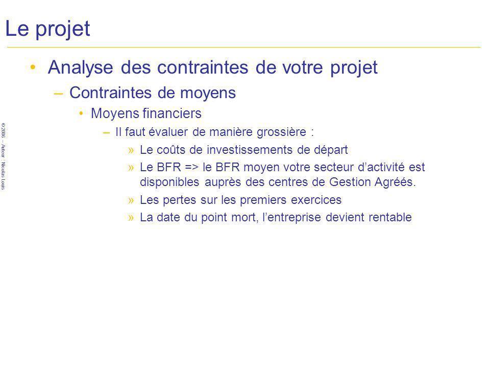 © 2006 – Auteur : Nicolas Louis Le projet Analyse des contraintes de votre projet –Contraintes de moyens Moyens financiers –Il faut évaluer de manière grossière : »Le coûts de investissements de départ »Le BFR => le BFR moyen votre secteur dactivité est disponibles auprès des centres de Gestion Agréés.