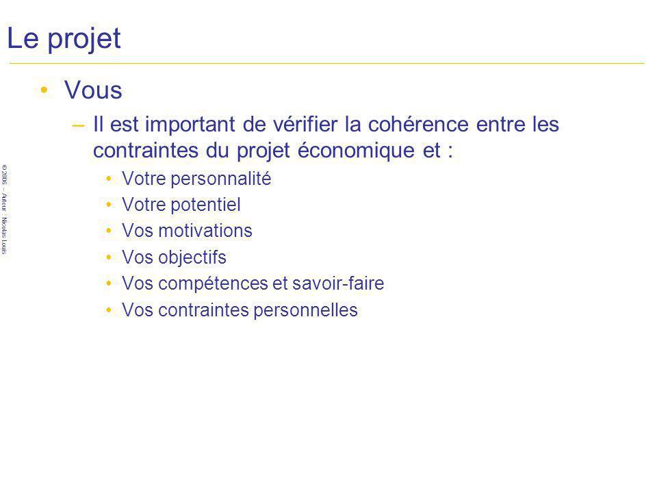 © 2006 – Auteur : Nicolas Louis Le projet Vous –Il est important de vérifier la cohérence entre les contraintes du projet économique et : Votre personnalité Votre potentiel Vos motivations Vos objectifs Vos compétences et savoir-faire Vos contraintes personnelles