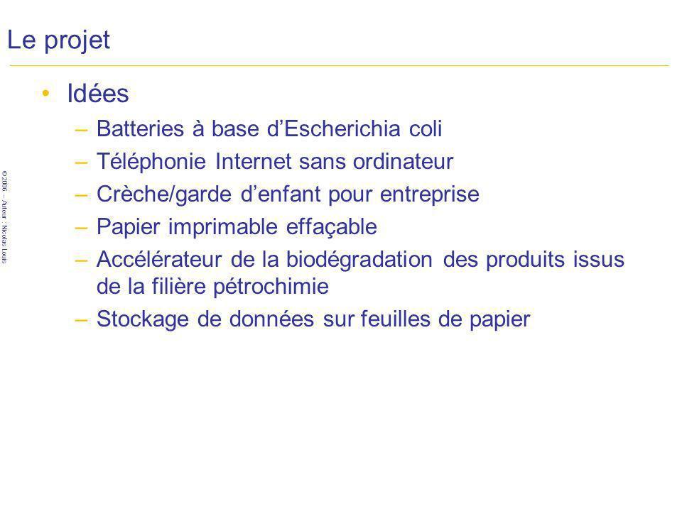 © 2006 – Auteur : Nicolas Louis Le projet Les composants du projet –Les questions à se poser : Quels sont ses points faibles .