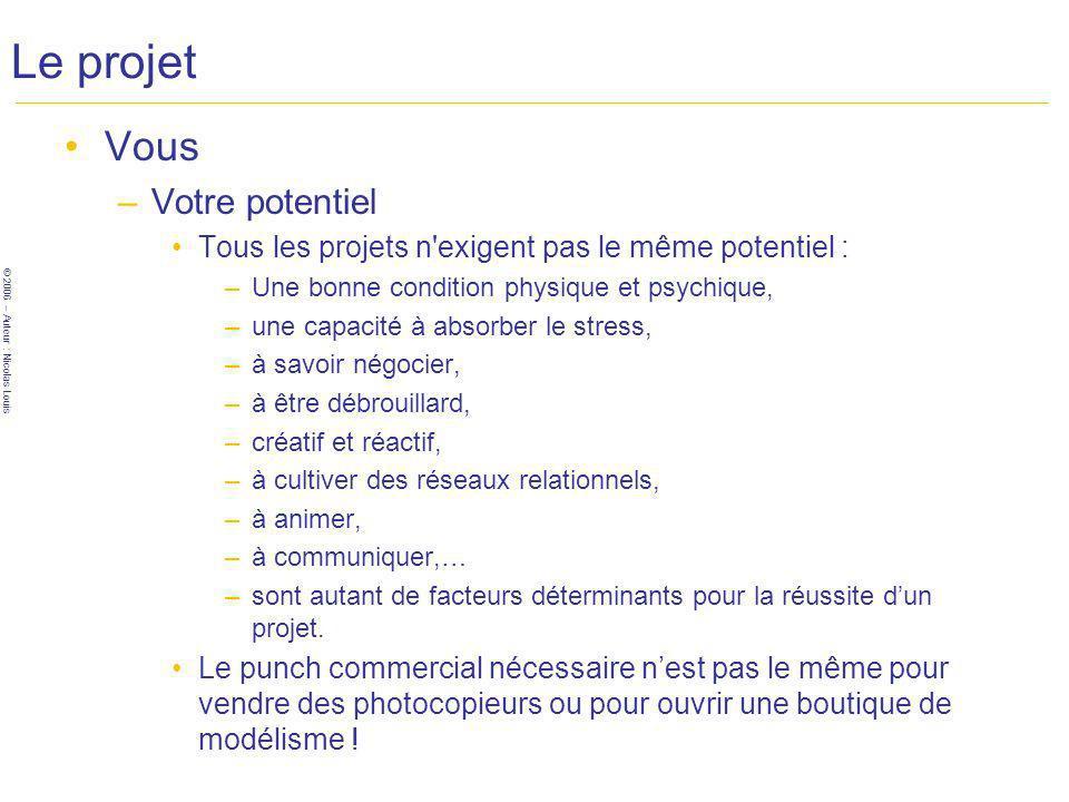 © 2006 – Auteur : Nicolas Louis Le projet Vous –Votre potentiel Tous les projets n exigent pas le même potentiel : –Une bonne condition physique et psychique, –une capacité à absorber le stress, –à savoir négocier, –à être débrouillard, –créatif et réactif, –à cultiver des réseaux relationnels, –à animer, –à communiquer,… –sont autant de facteurs déterminants pour la réussite dun projet.