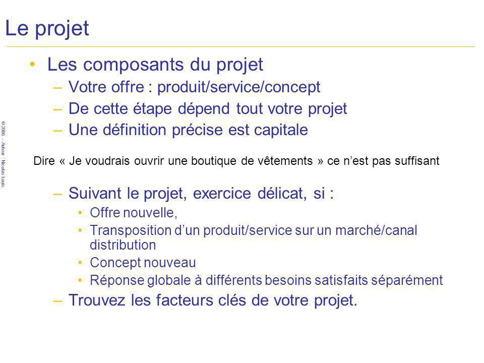 © 2006 – Auteur : Nicolas Louis Le projet Analyse des contraintes de votre projet –Les questions : Vous avez décrit de manière précise votre activité .