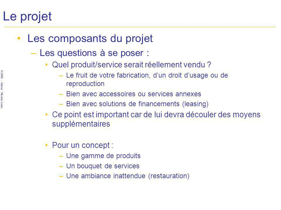 © 2006 – Auteur : Nicolas Louis Le projet Les composants du projet –Les questions à se poser : Quel produit/service serait réellement vendu .