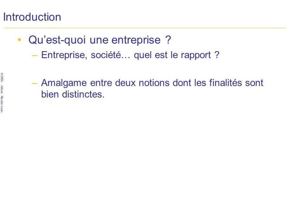 © 2006 – Auteur : Nicolas Louis Introduction Quest-quoi une entreprise .