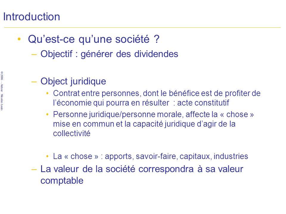 © 2006 – Auteur : Nicolas Louis Introduction Quest-ce quune société .