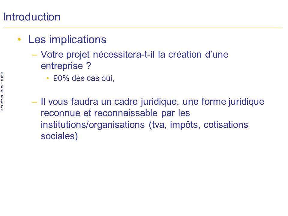© 2006 – Auteur : Nicolas Louis Introduction Les implications –Votre projet nécessitera-t-il la création dune entreprise .