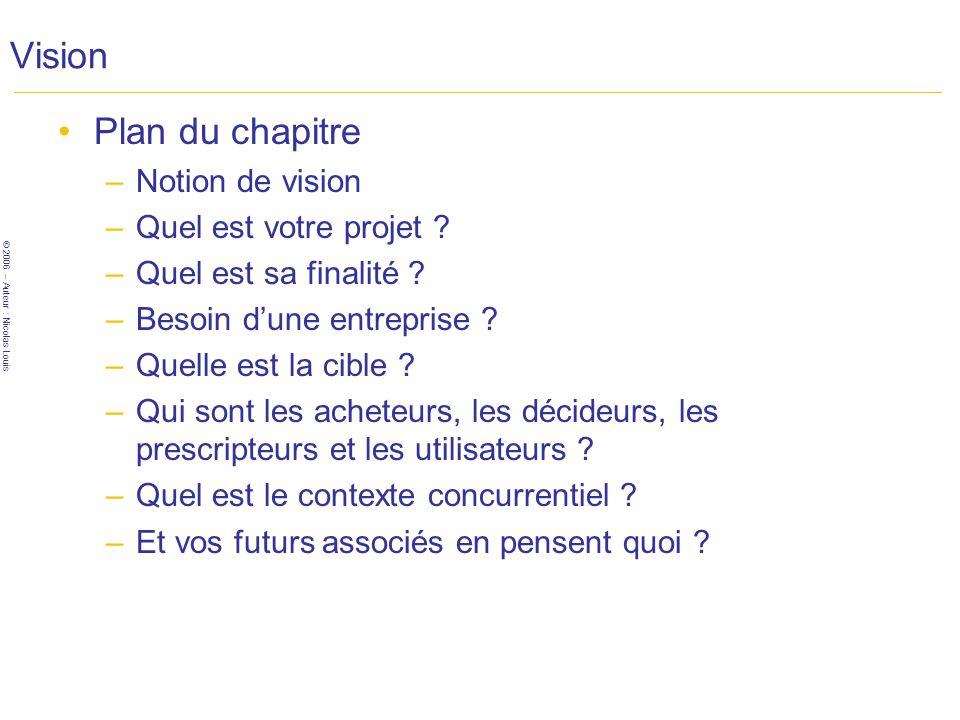 © 2006 – Auteur : Nicolas Louis Vision Plan du chapitre –Notion de vision –Quel est votre projet .