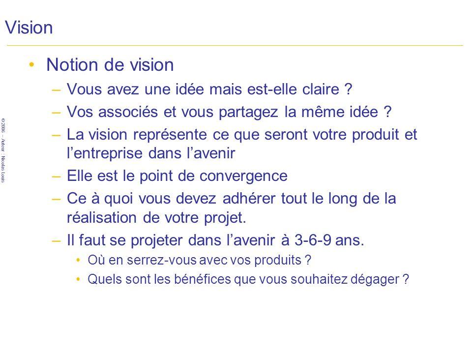 © 2006 – Auteur : Nicolas Louis Vision Notion de vision –Vous avez une idée mais est-elle claire .