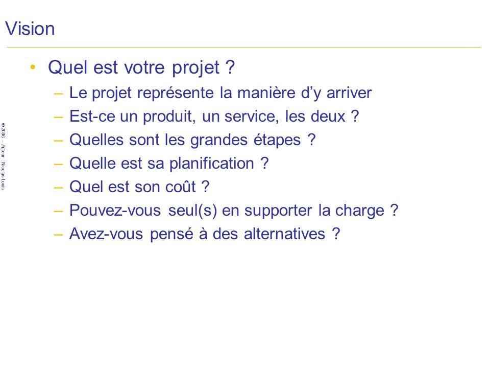 © 2006 – Auteur : Nicolas Louis Vision Quel est votre projet .