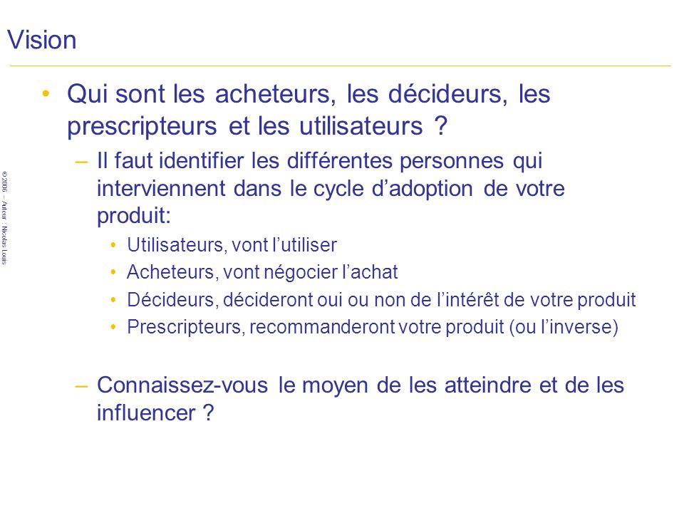 © 2006 – Auteur : Nicolas Louis Vision Qui sont les acheteurs, les décideurs, les prescripteurs et les utilisateurs .