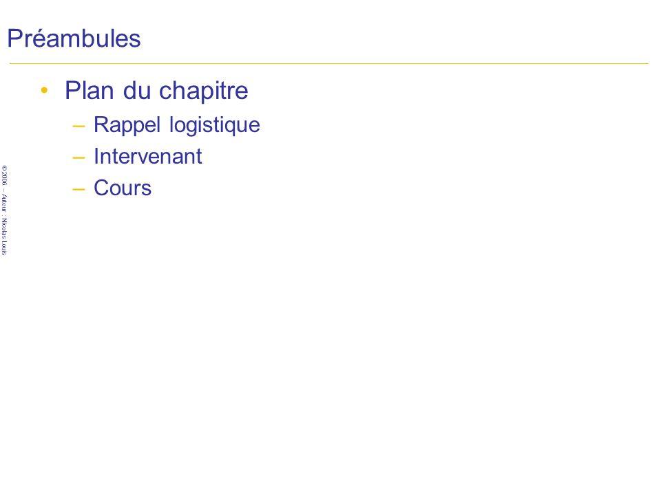 © 2006 – Auteur : Nicolas Louis Préambules Plan du chapitre –Rappel logistique –Intervenant –Cours