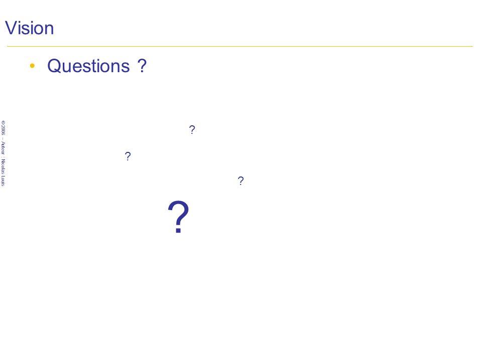 © 2006 – Auteur : Nicolas Louis Vision Questions ? ? ? ? ?