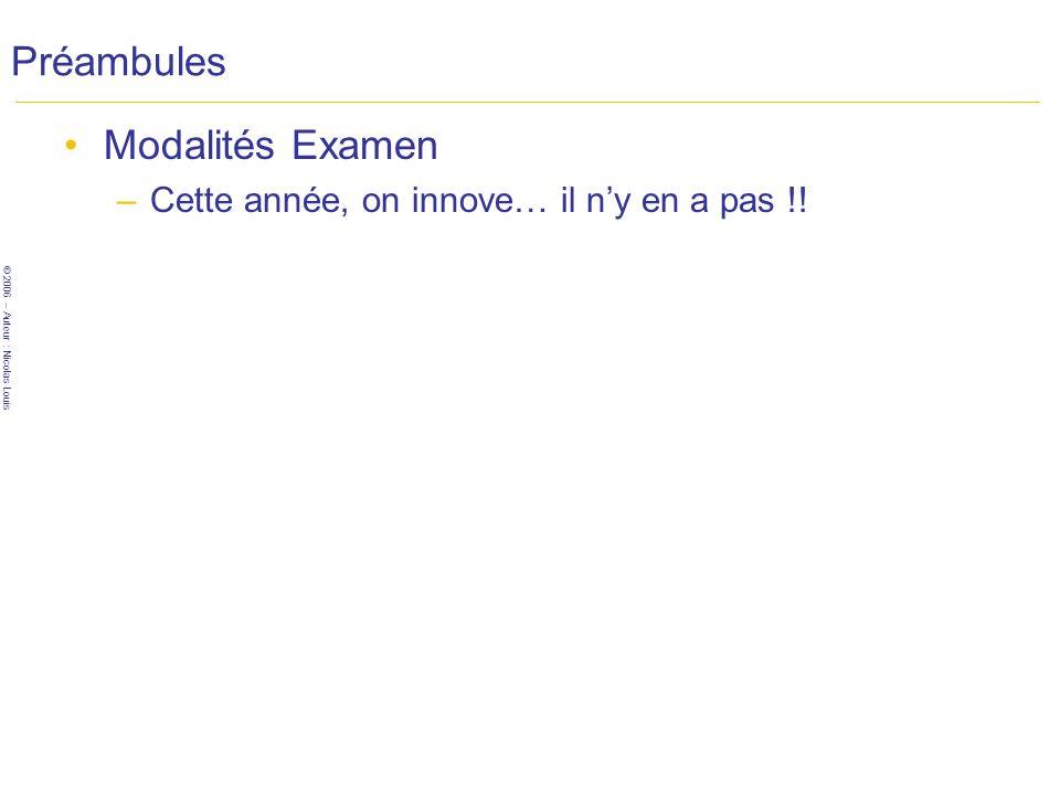 © 2006 – Auteur : Nicolas Louis Préambules Modalités Examen –Cette année, on innove… il ny en a pas !!