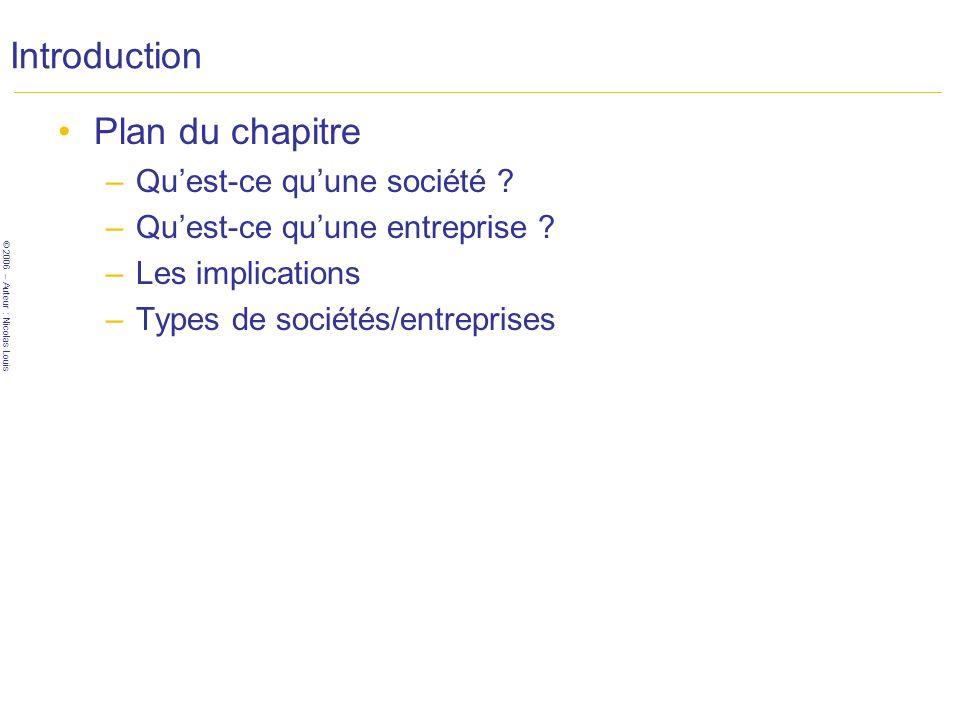 © 2006 – Auteur : Nicolas Louis Introduction Plan du chapitre –Quest-ce quune société .