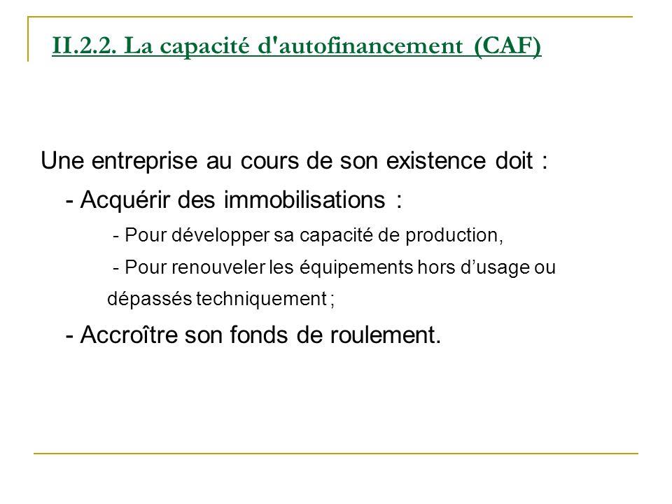 II.2.2. La capacité d'autofinancement (CAF) Une entreprise au cours de son existence doit : - Acquérir des immobilisations : - Pour développer sa capa