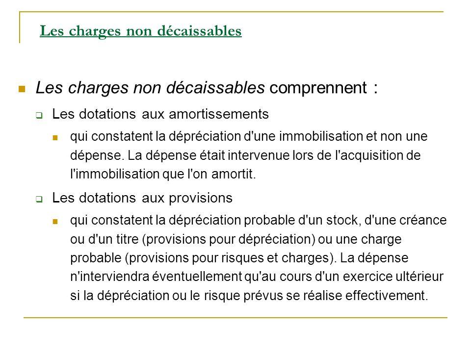 Les charges non décaissables comprennent : Les dotations aux amortissements qui constatent la dépréciation d'une immobilisation et non une dépense. La