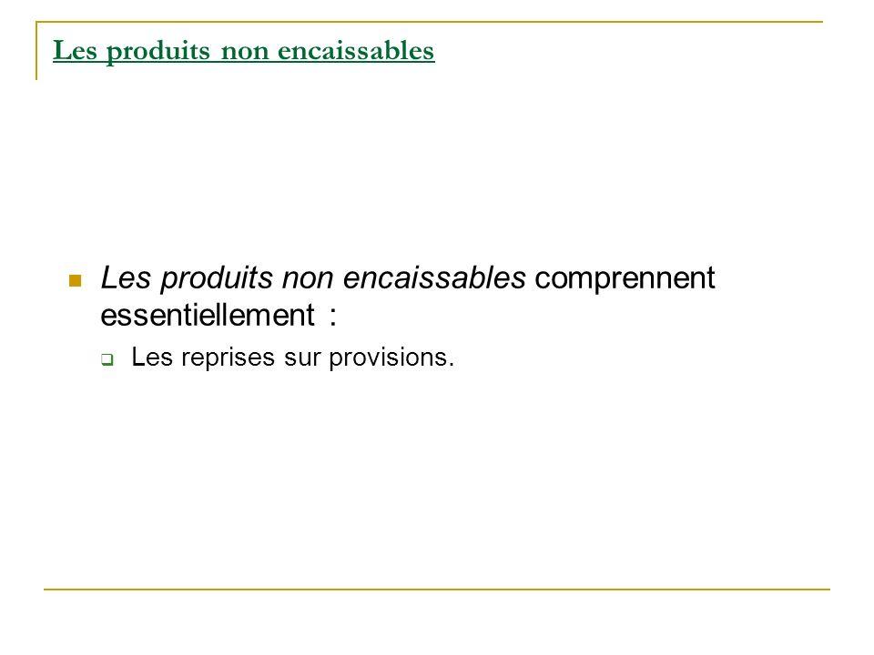 Les produits non encaissables Les produits non encaissables comprennent essentiellement : Les reprises sur provisions.