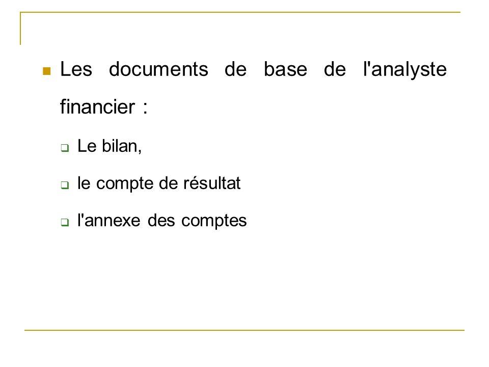 Les documents de base de l'analyste financier : Le bilan, le compte de résultat l'annexe des comptes