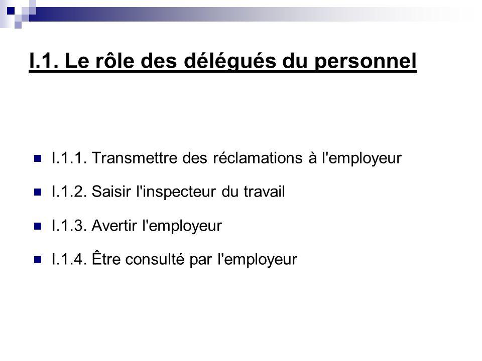 I.1. Le rôle des délégués du personnel I.1.1. Transmettre des réclamations à l employeur I.1.2.