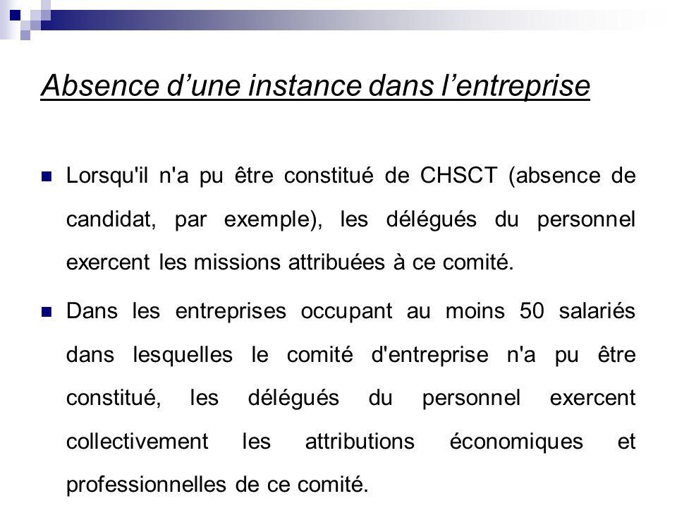 Absence dune instance dans lentreprise Lorsqu il n a pu être constitué de CHSCT (absence de candidat, par exemple), les délégués du personnel exercent les missions attribuées à ce comité.