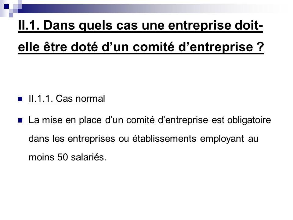 II.1. Dans quels cas une entreprise doit- elle être doté dun comité dentreprise .