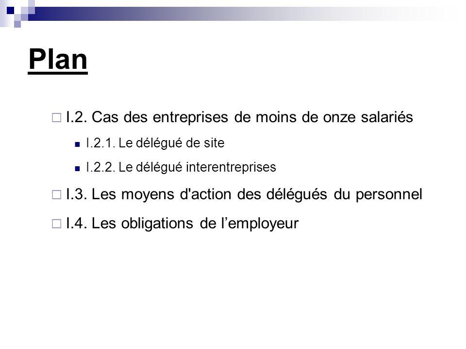 Plan I.2. Cas des entreprises de moins de onze salariés I.2.1.